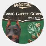 Marca del Doberman - Organic Coffee Company Pegatina Redonda