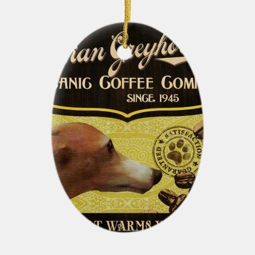 Marca del galgo italiano - Organic Coffee Company Adorno Navideño Ovalado De Cerámica