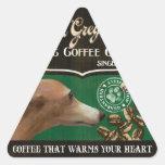Marca del galgo italiano - Organic Coffee Company Pegatina Triangular