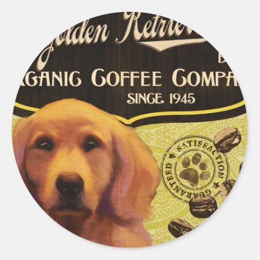 Marca del golden retriever - Organic Coffee Compan Pegatinas Redondas