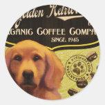 Marca del golden retriever - Organic Coffee Pegatinas Redondas