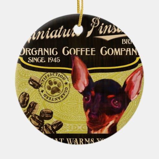 Marca del Pinscher miniatura - Organic Coffee Adorno Navideño Redondo De Cerámica