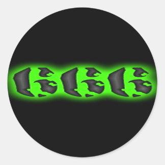 Marca malvada de los pegatinas de la bestia 666 pegatina redonda