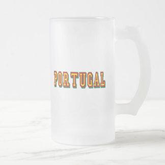 """Marca """"Portugal"""" por Fás do Futebol Português Frosted Glass Beer Mug"""