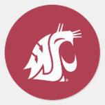 Marca primaria de WSU - blanco Pegatinas Redondas
