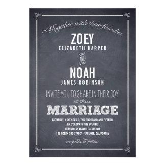 Marcado con tiza elegante casando invitaciones comunicado personal