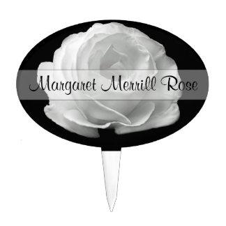 Marcador de encargo de la planta del rosa blanco decoración para tarta