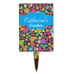 Marcador de encargo del jardín de la flor colorida figuras de tarta