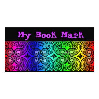 Marcador de libro rizado del arco iris de N Tarjeta Personal