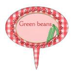 Marcador del jardín de las habas verdes o figuras de tarta