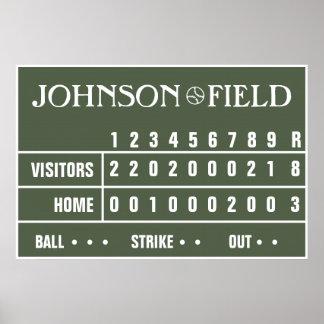 Marcador personalizado -36 x 24 del béisbol poster