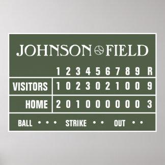 Marcador personalizado del béisbol - 60 x 40 posters