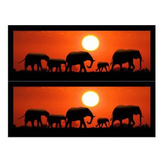 Marcadores de libro de la familia del elefante tarjeta postal