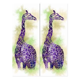 Marcadores de libro de la jirafa de la acuarela postal
