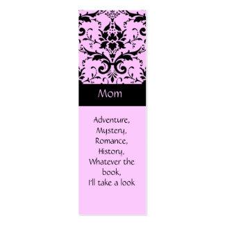 Marcas de libro rosadas y negras del damasco tarjetas de visita mini