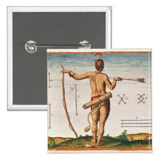 Marcas distintivas de un guerrero de Virginia Pin Cuadrada 5 Cm