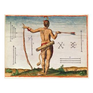 Marcas distintivas de un guerrero de Virginia Tarjeta Postal