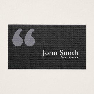 Marcas oscuras de la cita que corrigen la tarjeta tarjetas de visita
