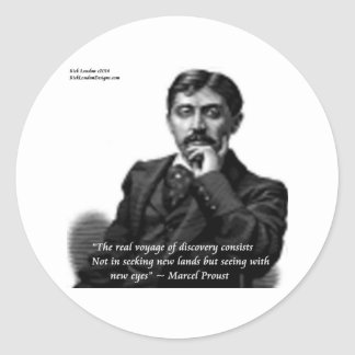 Marcel Proust & Famous Quote Classic Round Sticker
