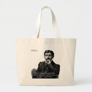 Marcel Proust & Famous Quote Large Tote Bag