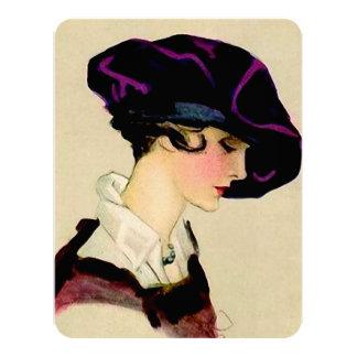 "Marcello Dudovich Illustration ""Girl In Purple Hat Card"