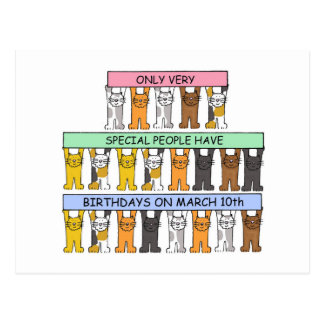 March 10th Birthday Cats Postcard