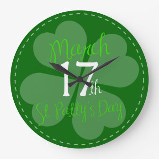 March 17th St. Patty's Day Celebration Large Clock