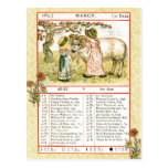March 1884 Almanac.  Aries, The Ram Postcard