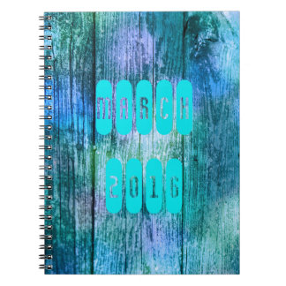 March 2016 Purple Turquoise Monthly Notebook