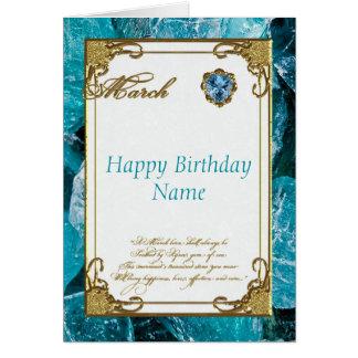 March Aquamarine Birthstone Birthday Card