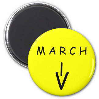 March Arrow Yellow Round Magnet by Janz