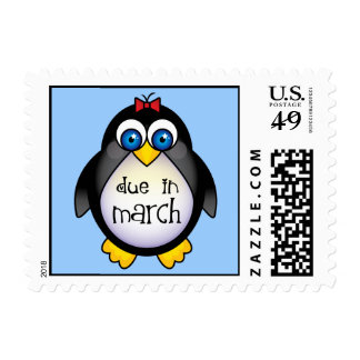 March Baby Announcement Penguin Stamp