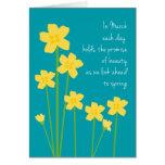 March Birth Month Daffodils Happy Birthday Greeting Card