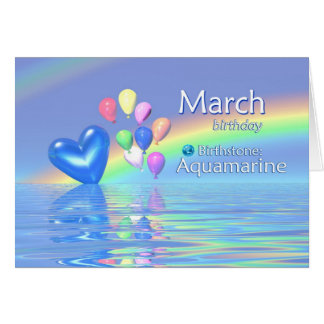 March Birthday Aquamarine Heart Greeting Card