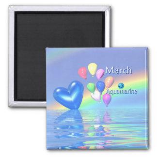 March Birthday Aquamarine Heart 2 Inch Square Magnet