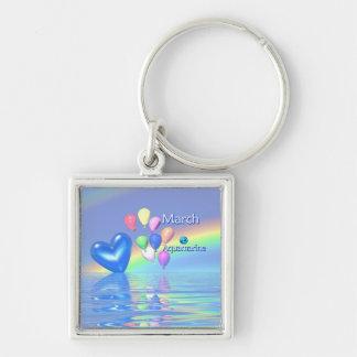 March Birthday Aquamarine Heart Silver-Colored Square Keychain
