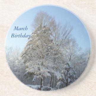 March Birthday-Winter Tree Scene Drink Coaster