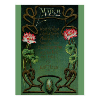 March Birthday with Lotus & Bloodstone Postcard