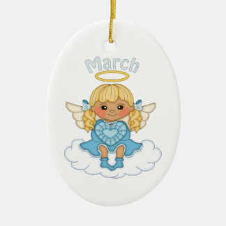 March Birthstone Angel Blonde Ceramic Ornament