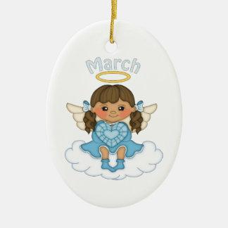 March Birthstone Angel Brunette Ceramic Ornament