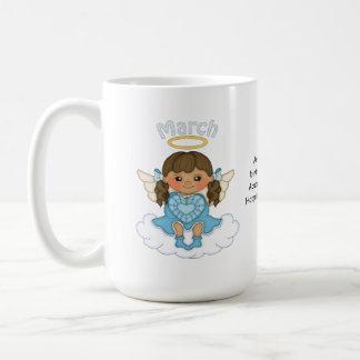 March Birthstone Angel Brunette Coffee Mug