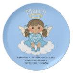 March Birthstone Angel Brunette Dinner Plates