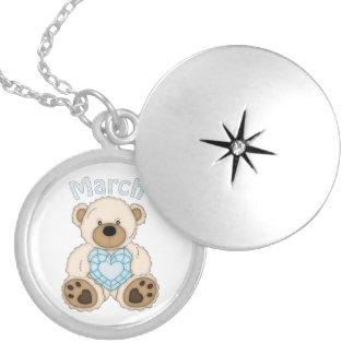 March Birthstone Bear silver plated locket