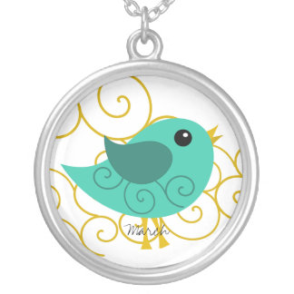 March Birthstone Bird Custom Necklace