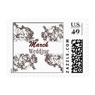 March Brown and White Wedding Month Postage