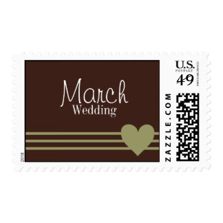 March Chocolate & Olive Heart Wedding Postage