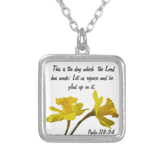 March daffodil flower w/ bible verse necklace