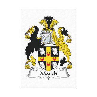 March Family Crest Stretched Canvas Print