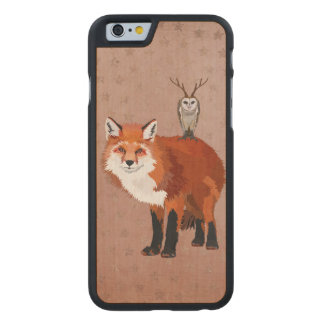 MARCH FOX & ANTLER OWL STARS Carved iPhone Carved Maple iPhone 6 Slim Case