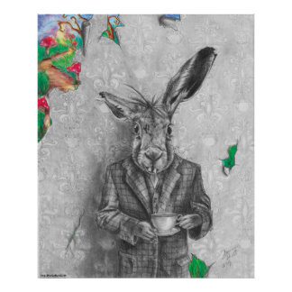 March Hare Art March Hare Poster Wonderland Art